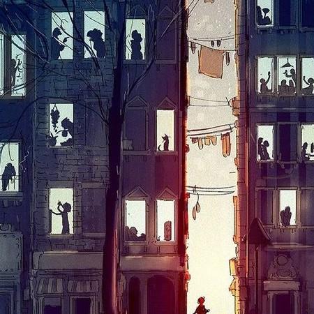racconto, finestre, sogno, luce
